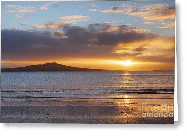 North Island Greeting Cards - Rangitoto Sunrise Auckland New Zealand Greeting Card by Colin and Linda McKie