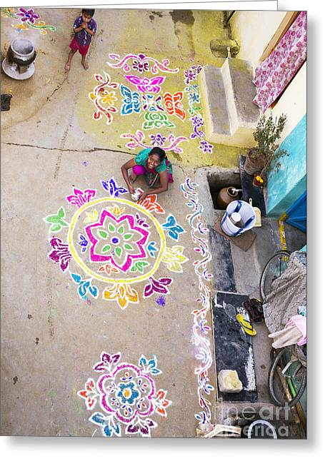 Colorful Indian Greeting Cards - Rangoli Street Greeting Card by Tim Gainey