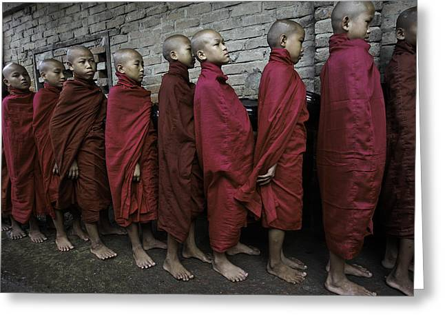 Rangoon Monks 1 Greeting Card by David Longstreath