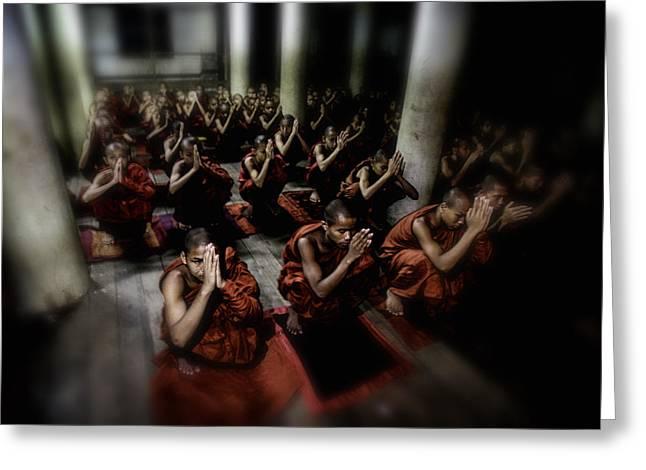 Begging Bowl Greeting Cards - Rangoon Monks 2 Greeting Card by David Longstreath