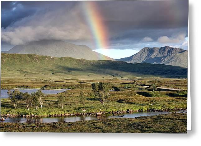 Glencoe Wall Art Greeting Cards - Rannoch Moor Rainbow Greeting Card by Grant Glendinning