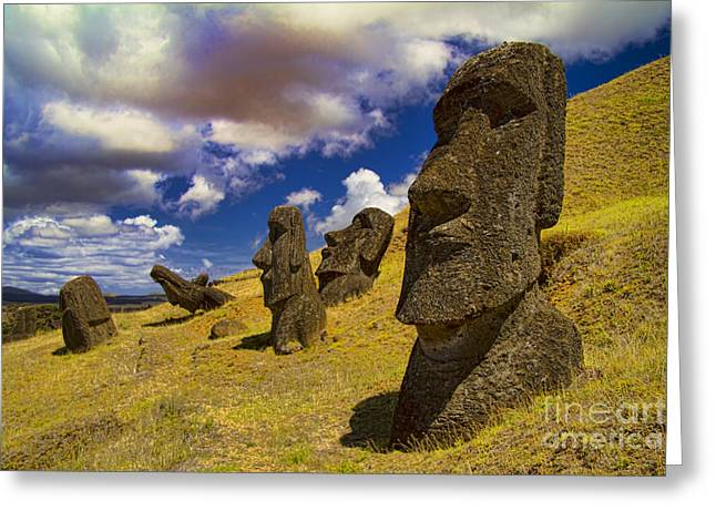 Easter Images Greeting Cards - Rano Rarakui Moai Statues on Easter Island Greeting Card by David Smith