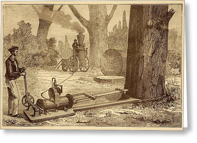 Ransome's Tree Felling Machine Greeting Card by David Parker