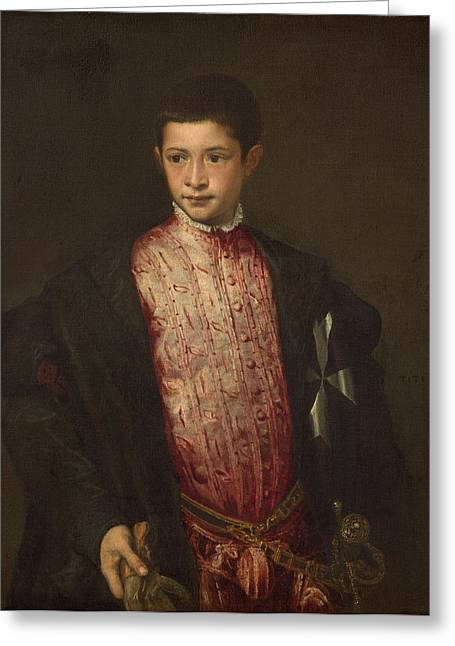 Titian Paintings Greeting Cards - Ranuccio Farnese Greeting Card by Titian