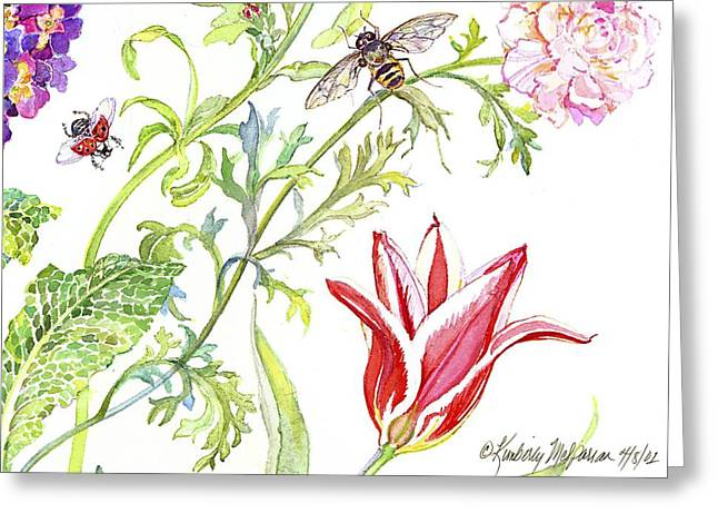 Green Leafs Drawings Greeting Cards - Ranuncula and Tulip Greeting Card by Kimberly McSparran