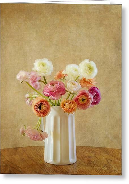 Kim Photographs Greeting Cards - Ranunculus Flower Still Life Greeting Card by Kim Hojnacki