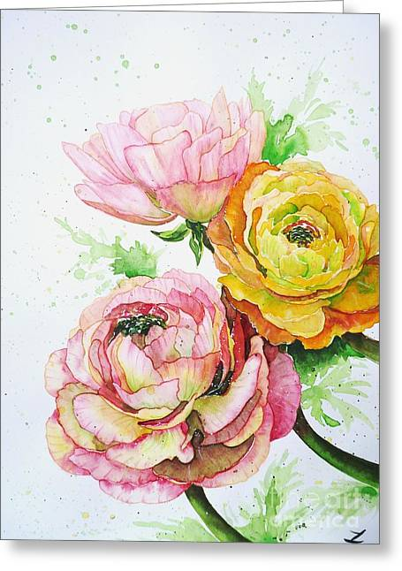 Ranunculus Greeting Cards - Ranunculus Flowers Greeting Card by Zaira Dzhaubaeva