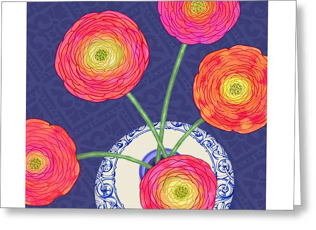 Valerie Drake Lesiak Greeting Cards - Ranunculus on Blue Greeting Card by Valerie   Drake Lesiak