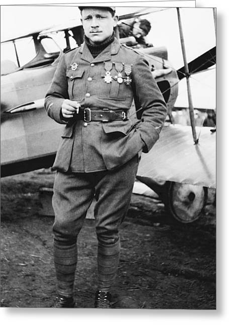 94th Fighter Squadron Greeting Cards - Raoul Lufbery, French World War I pilot Greeting Card by Science Photo Library