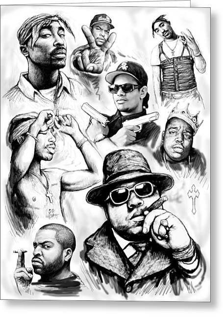 Rap Greeting Cards - Rap group drawing art sketch poster Greeting Card by Kim Wang