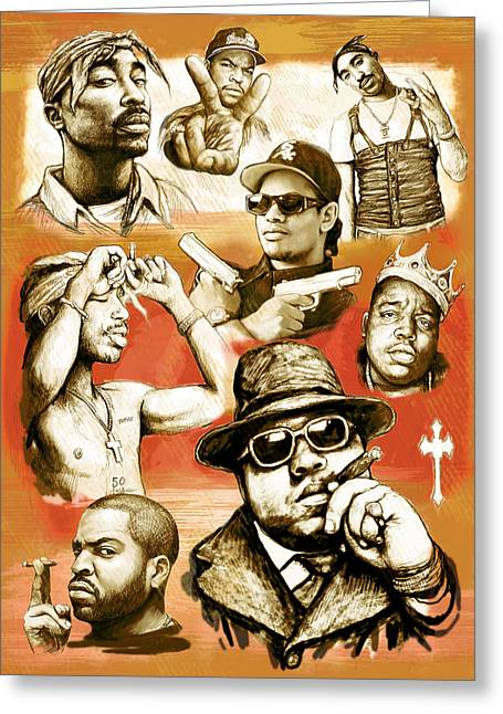 Rap Greeting Cards - Rap group drawing pop art sketch poster Greeting Card by Kim Wang