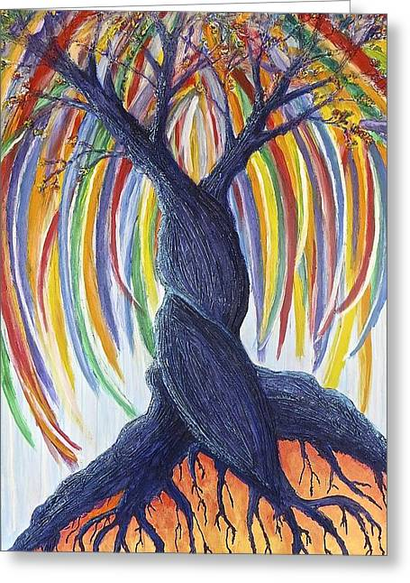 Tree Roots Paintings Greeting Cards - Rapa Nui Greeting Card by Philly Johnmeyer