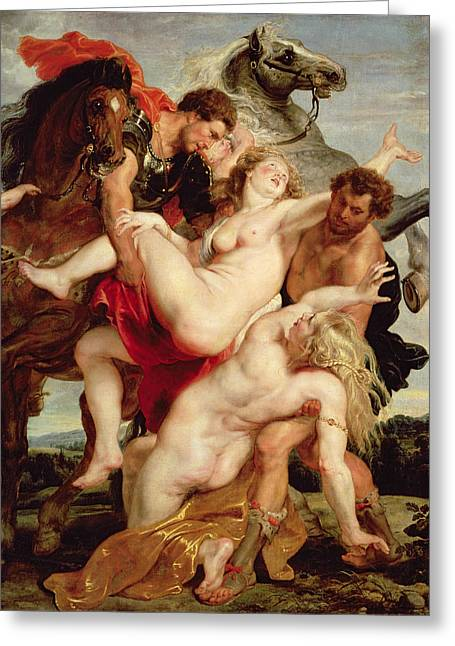 Abduction Greeting Cards - Rape Of The Daughters Of Leucippus Oil On Canvas Greeting Card by Peter Paul Rubens
