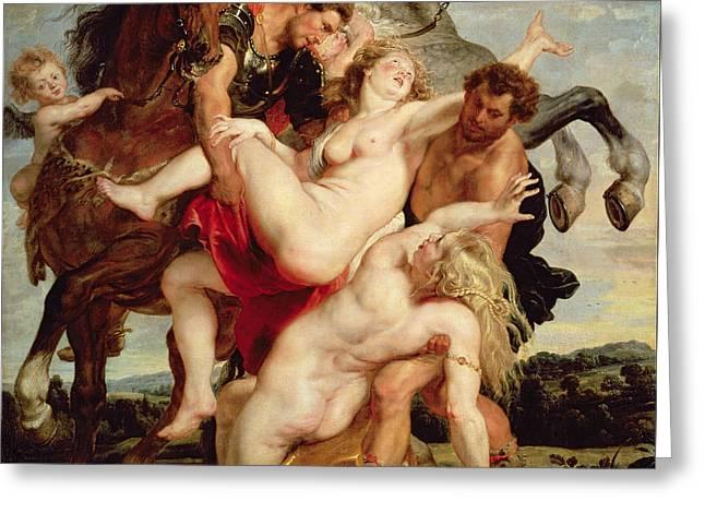 Rape Of The Daughters Of Leucippus Greeting Card by Peter Paul Rubens