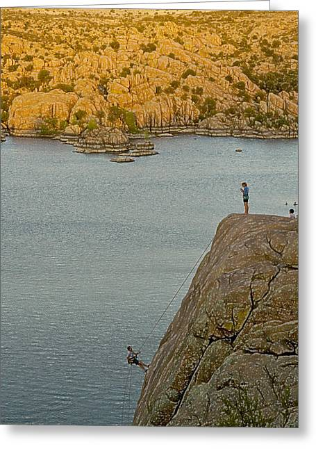 Prescott Greeting Cards - Rapelling Greeting Card by Tom Kelly