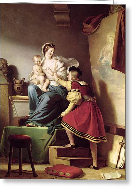 Artist At Work Greeting Cards - Raphael Adjusting his Models Pose for his Painting of the Virgin and Child  Greeting Card by Alexandre Evariste Fragonard