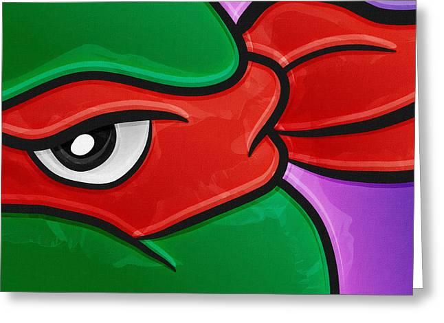 Michelangelo Greeting Cards - Raphael ninja turtles cartoon Greeting Card by Victor Gladkiy