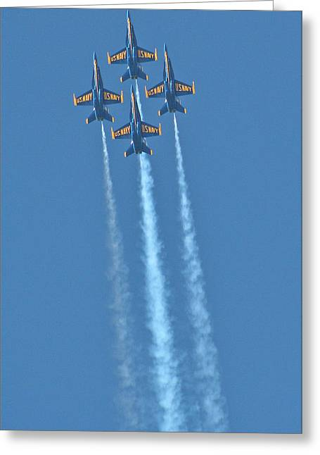 Jet Pyrography Greeting Cards - Rapid Ascent by the Blue Angels Greeting Card by DUG Harpster