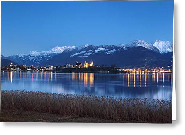 Snowy Evening Greeting Cards - Rapperswil Greeting Card by Marc Huebner