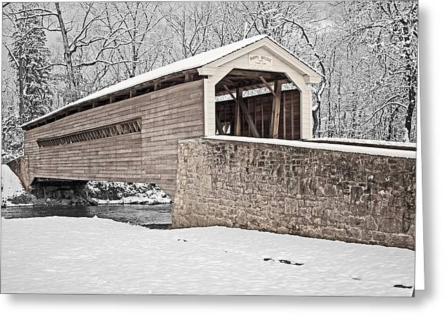Snow-covered Landscape Greeting Cards - Rapps Bridge in Winter Greeting Card by Michael Porchik