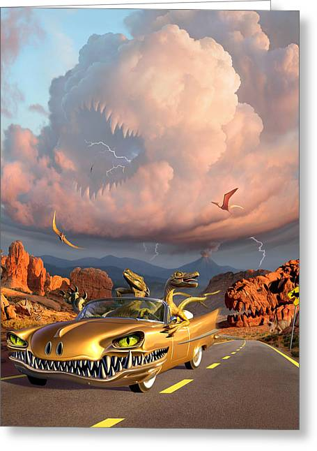 Prehistoric Digital Greeting Cards - Rapt Patrol Greeting Card by Jerry LoFaro