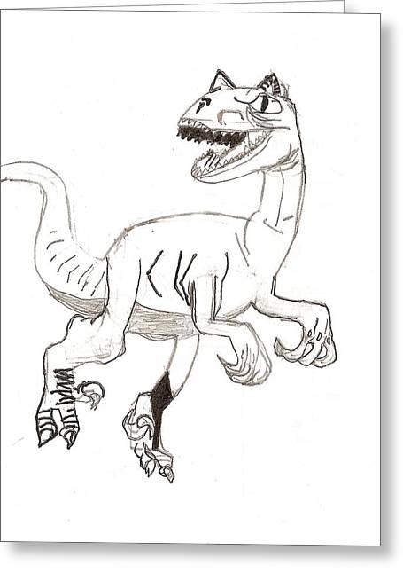 Raptor Drawings Greeting Cards - Raptor Greeting Card by Ethan