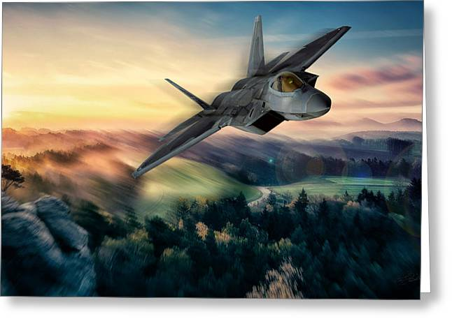 Modern Warfare Greeting Cards - Raptor Sunset Greeting Card by Peter Chilelli
