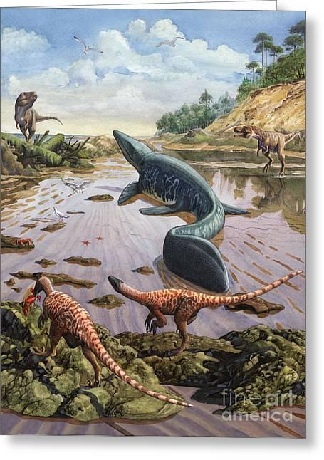 Stream Digital Art Greeting Cards - Raptors Attack A Vulnerable Mosasaurus Greeting Card by Sergey Krasovskiy