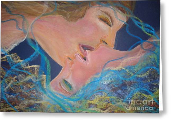 Satisfaction Pastels Greeting Cards - The Kiss Greeting Card by Lori  Lovetere