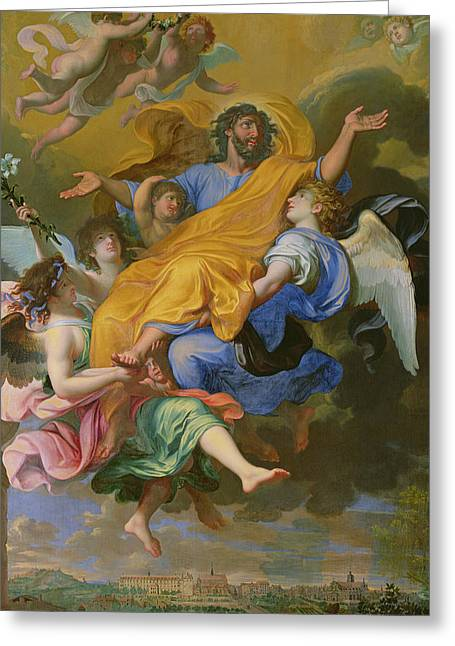 Carpenter Greeting Cards - Rapture of Saint Joseph Greeting Card by French School