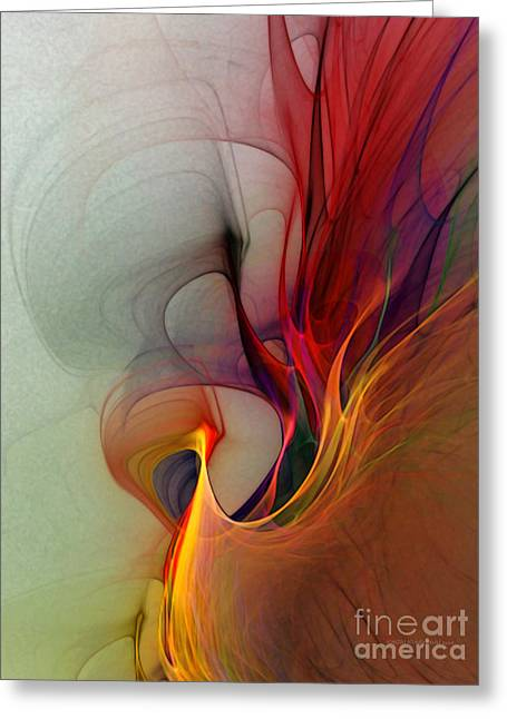 Sizes Greeting Cards - Rapture of the Deep-Abstract art Greeting Card by Karin Kuhlmann