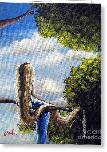 Child In Clouds Greeting Cards - Rapunzel Original Artwork from my Acrylic Painting Greeting Card by Shawna Erback