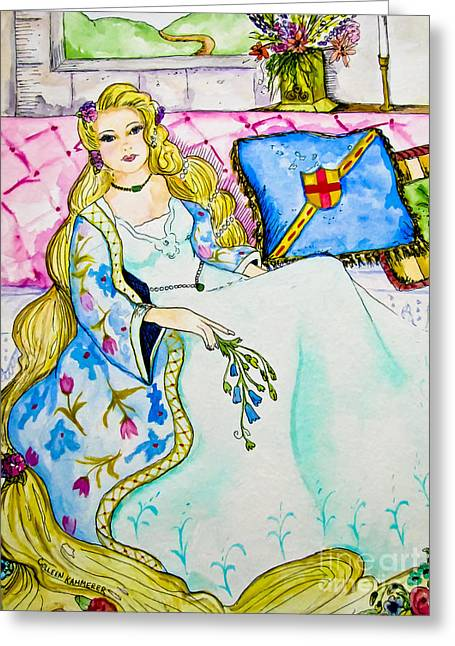 Rapunzel Greeting Cards - Rapunzel - Fairy Tale Art Greeting Card by Colleen Kammerer