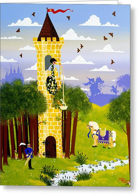 Knights Castle Paintings Greeting Cards - Rapunzel Rapunzel Let Down Your Hare Greeting Card by Merry  Kohn Buvia