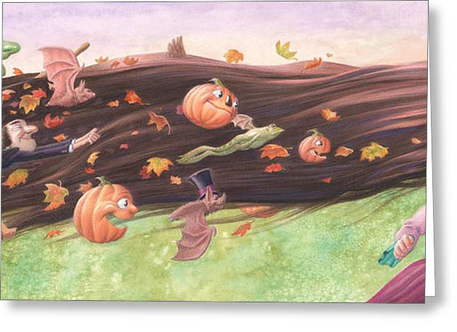 Flying Frog Greeting Cards - Rapunzels Halloween Greeting Card by Richard Moore
