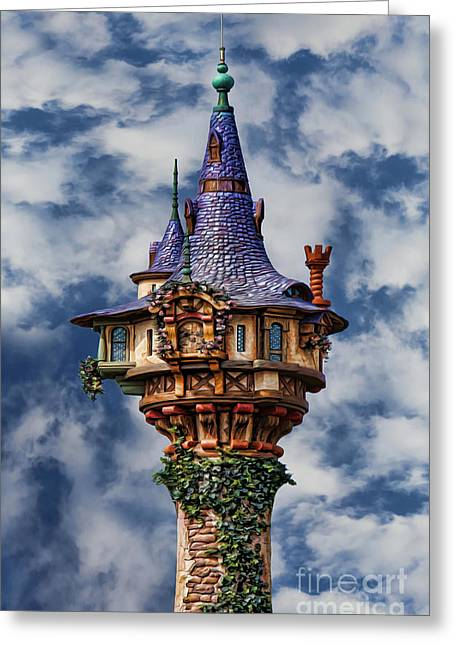 Flynn Greeting Cards - Rapunzels Tower Greeting Card by Lee Dos Santos