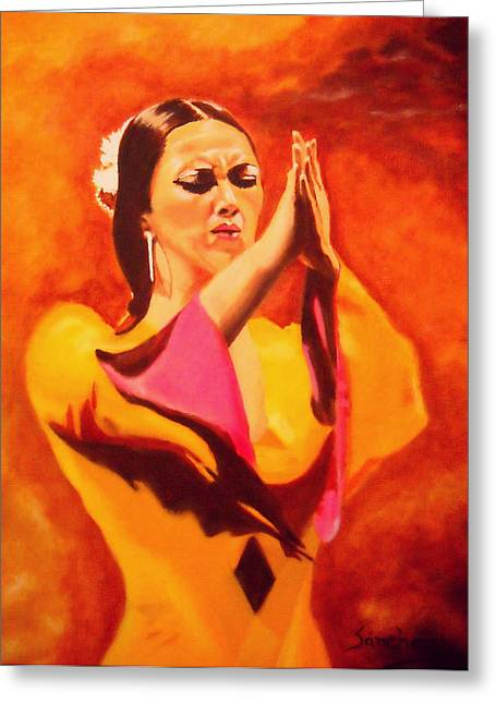 Women Only Paintings Greeting Cards - Raquel Heredia - Flamenco Dancer Greeting Card by Manuel Sanchez