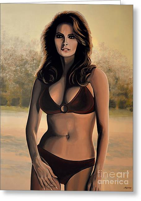 Rights Paintings Greeting Cards - Raquel Welch 2 Greeting Card by Paul Meijering