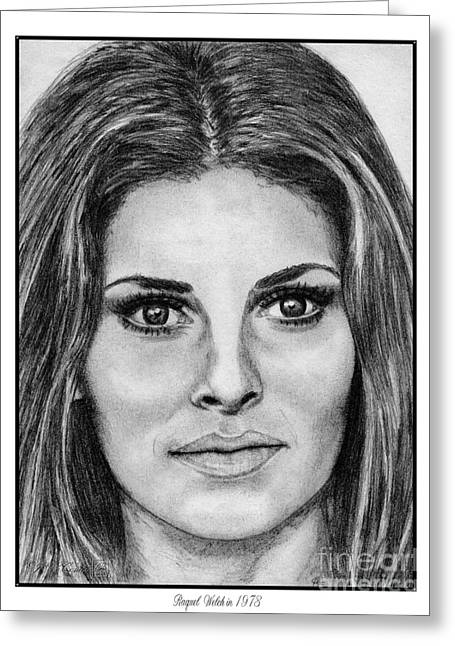 Fame Drawings Greeting Cards - Raquel Welch in 1973 Greeting Card by J McCombie