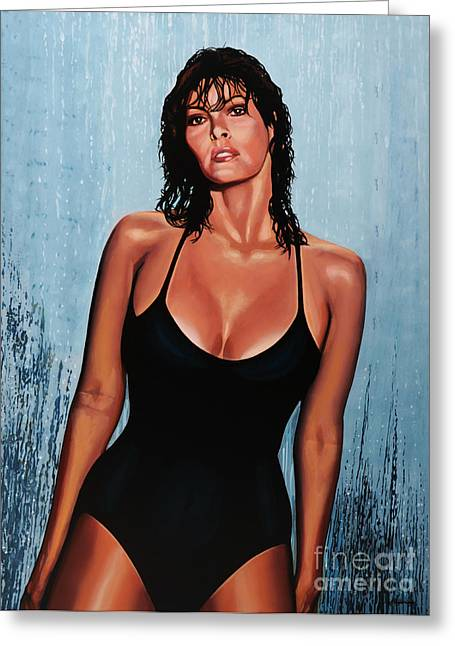 Rights Paintings Greeting Cards - Raquel Welch Greeting Card by Paul  Meijering