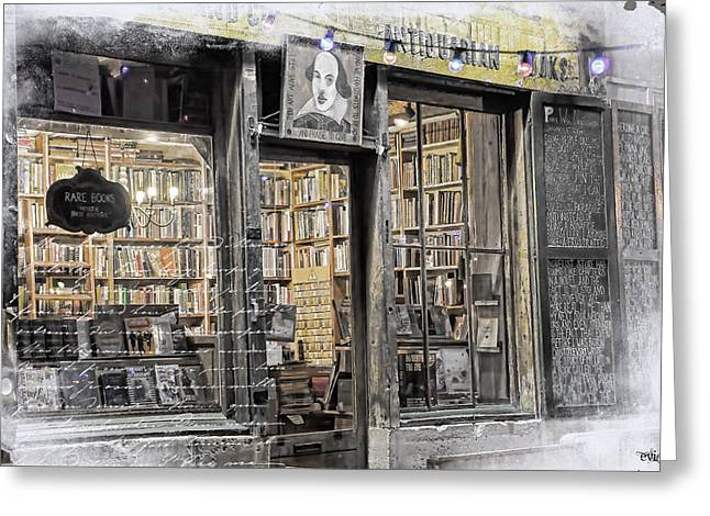 Recently Sold -  - Blue And Green Greeting Cards - Rare Books Latin Quarter Paris France Greeting Card by Evie Carrier