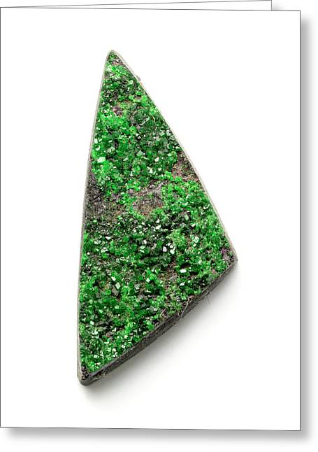 Rare Bright Green Uvarovite Garnet Greeting Card by Dorling Kindersley/uig