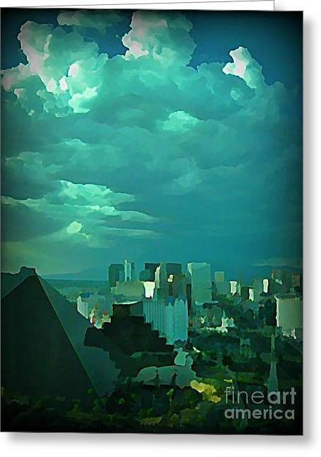 Rare Clouds Over Vegas Greeting Card by John Malone