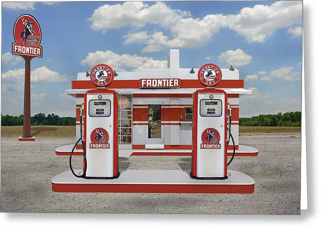 Gas Station Greeting Cards - Rarin to Go - Frontier Station Greeting Card by Mike McGlothlen