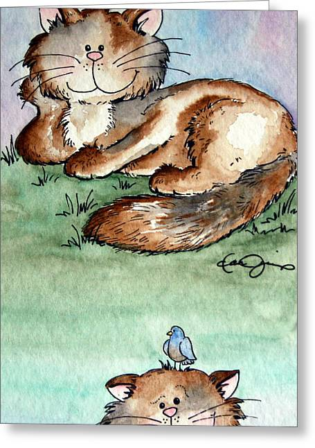 Pictures Of Cats Drawings Greeting Cards - Rascal and Pal Greeting Card by Danise Abbott
