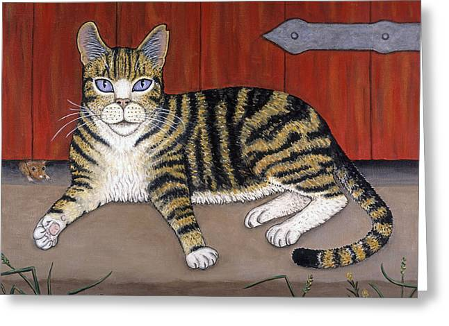 Cat Greeting Cards - Rascal the Cat Greeting Card by Linda Mears