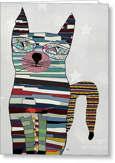Portraits Of Cats Greeting Cards - Blueberry Greeting Card by Bri Buckley