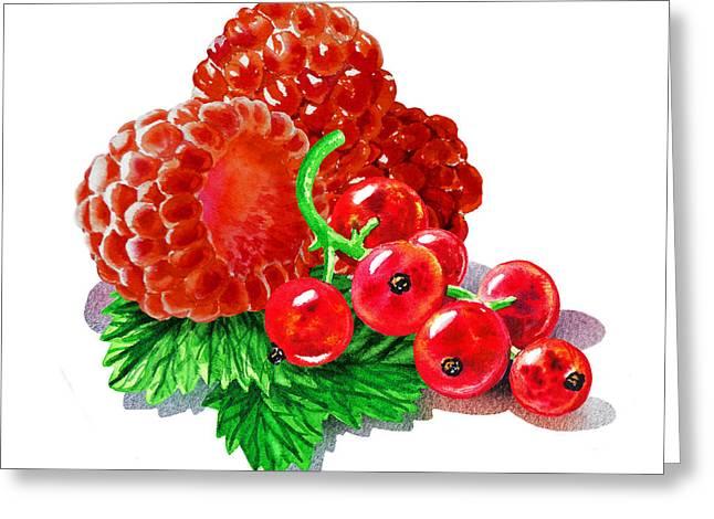Raspberry Paintings Greeting Cards - Raspberries And Redcurrant Greeting Card by Irina Sztukowski
