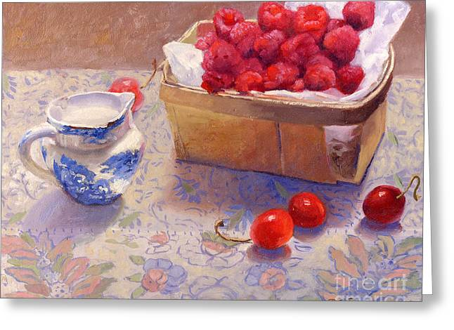 Small Basket Greeting Cards - Raspberries Greeting Card by Dorothy Boyer