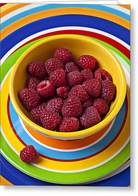Health Food Greeting Cards - Raspberries in yellow bowl on plate Greeting Card by Garry Gay